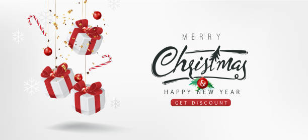 Merry christmas sale banner background.Merry Christmas text Calligraphic Lettering Vector illustration. vector art illustration