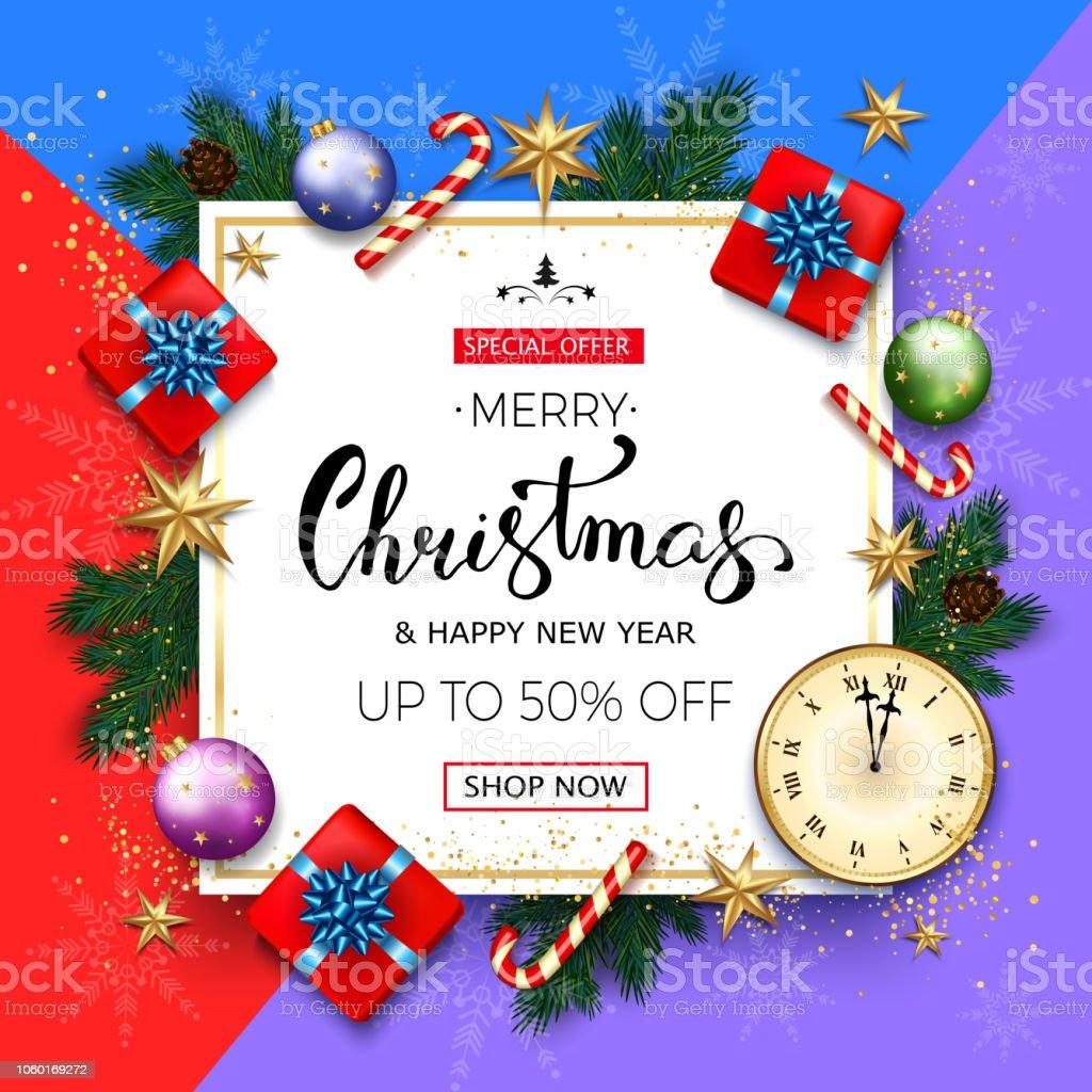 ebf7d5bca18da Bannière de vente joyeux Noël avec des branches de sapin, cadeau boîtes de  bulles et