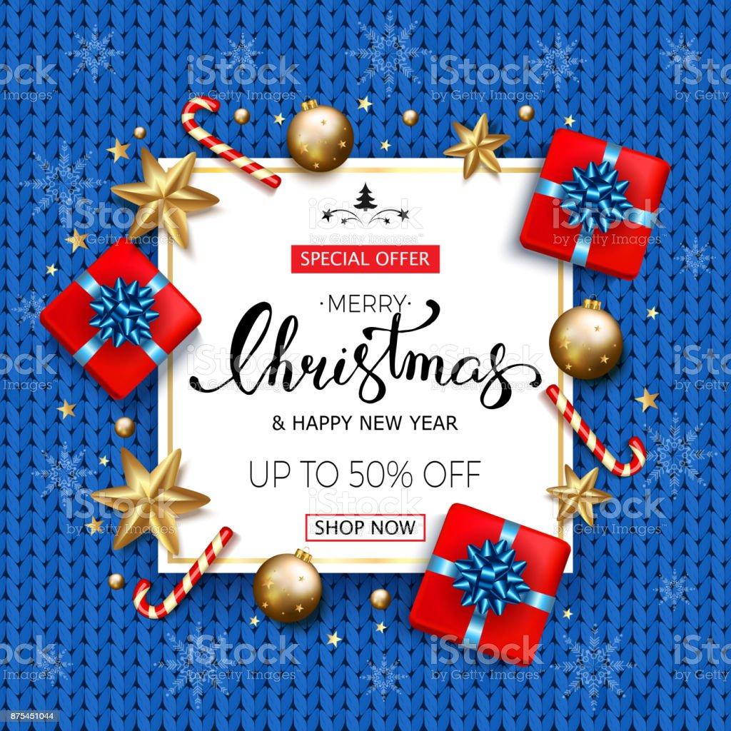 Frohe Weihnachten Verkauf Banner Mit Geschenkboxen Goldene Sterne ...