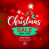 Merry Christmas sale brush stroke design with on Bokeh red background, vector illustration