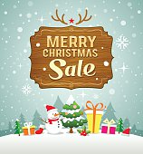 Christmas Greeting Card. Merry Christmas sale concept with wood board on snow background, vector illustration