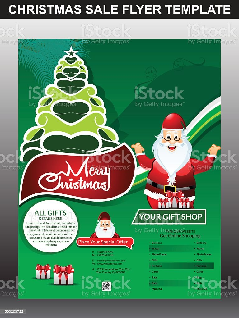 merry Christmas sale flyer template & magazine design vector...