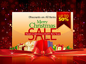 Merry Christmas Sales Promotion Background. Each element in a separate layers. Very easy to edit vector EPS10 file. It has transparency layers with blend effects.