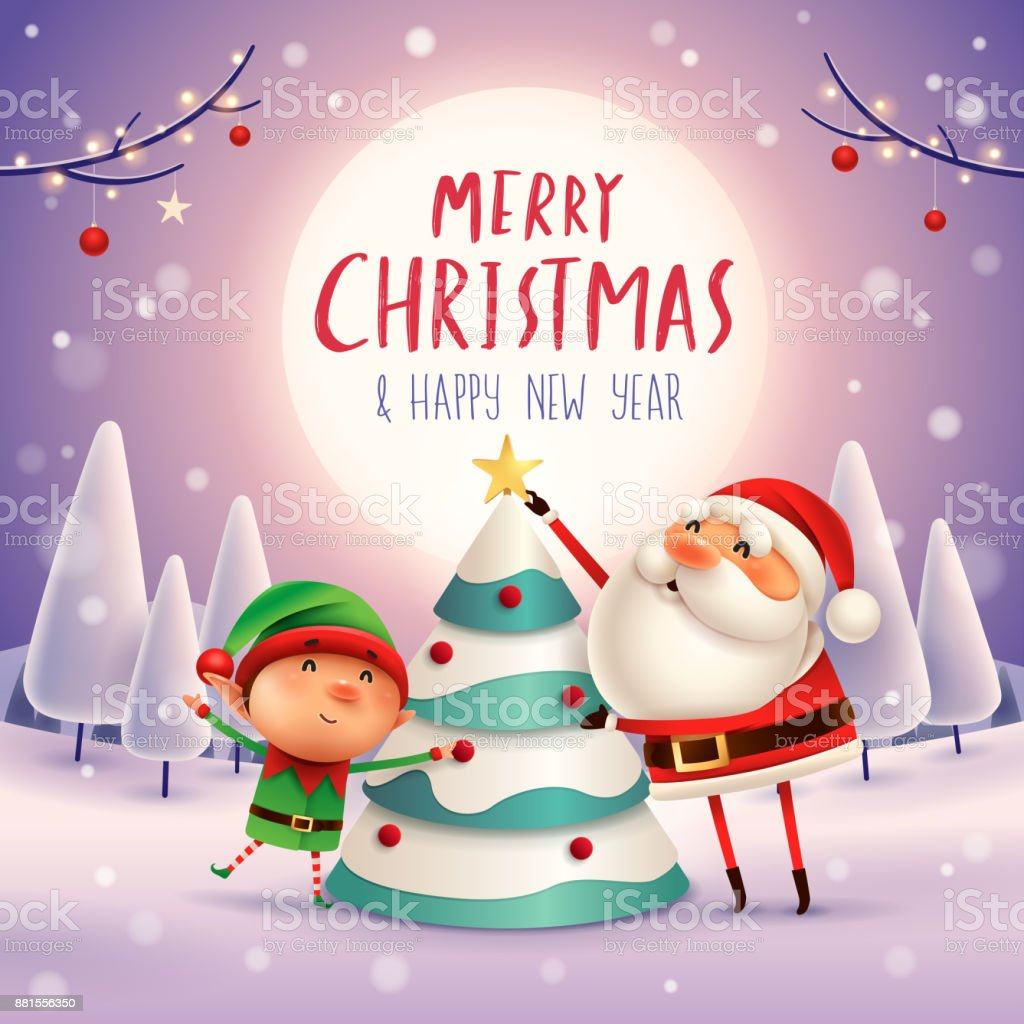 merry christmas santa claus and elf decorate the christmas tree in the moonlight winter - Animated Christmas Elves Decorations