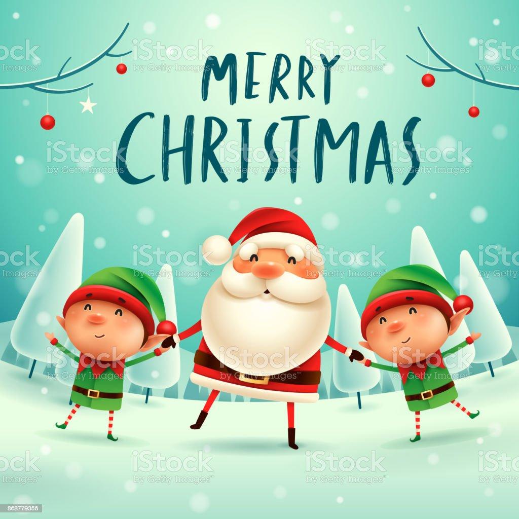 Frohe Weihnachten Santa Claus Und Elfen Hand In Hand Im ...