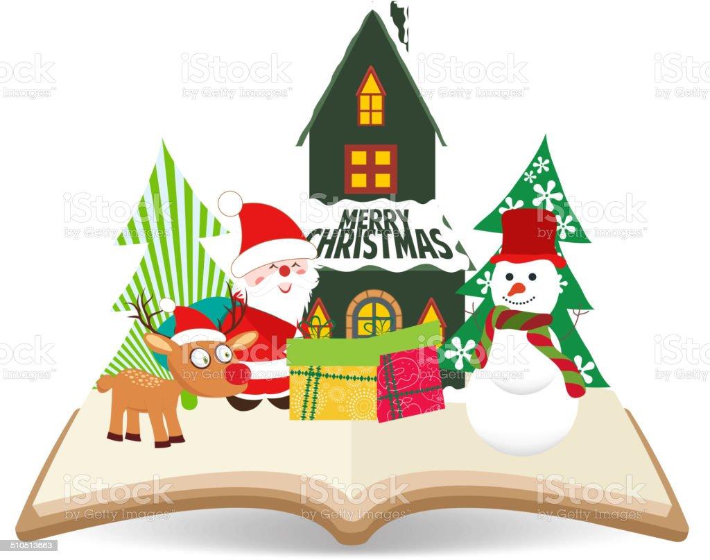 Merry Christmas Santa Claus Und Schneemann Zu Buchen Stock Vektor ...