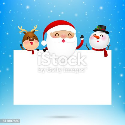 Merry christmas santa claus cartoon and blank paper with copyspace on snow background vector illustration eps10