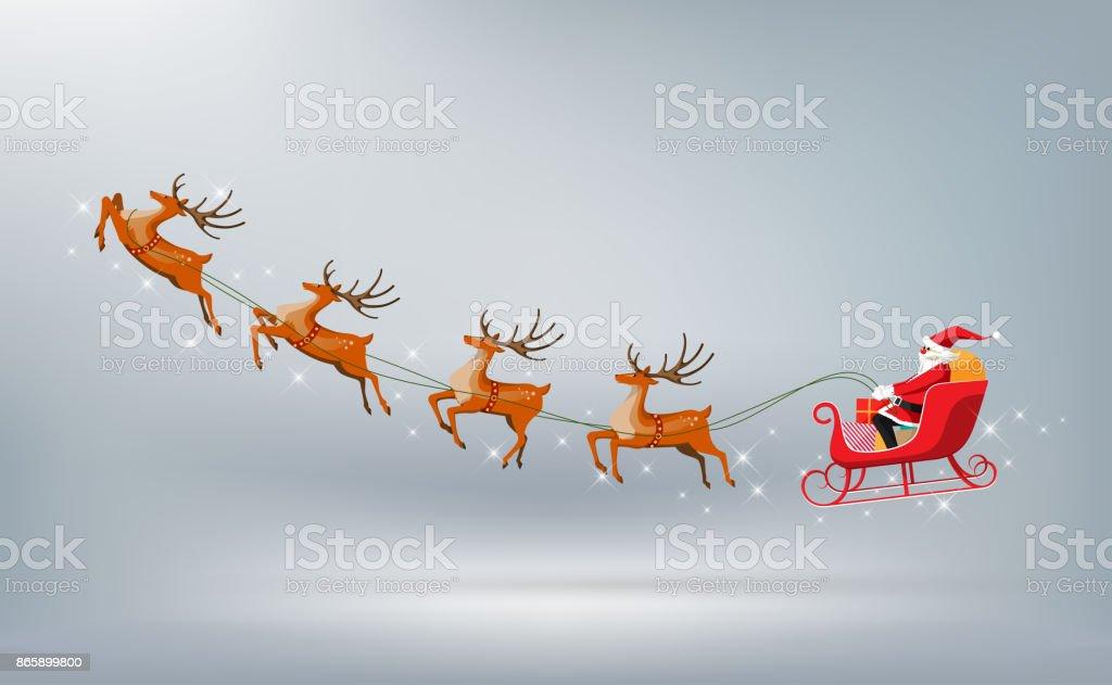 Frohe Weihnachten, Weihnachtsmann fährt Schlitten Rentier isoliert, Vektor-illustration - Lizenzfrei Christbaumkugel Vektorgrafik