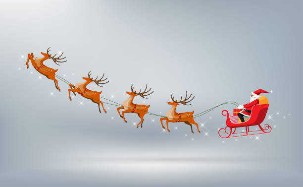 Merry Christmas, Santa Claus drives sleigh reindeer isolated, vector illustration Merry Christmas and Happy New Year, Santa Claus drives sleigh with reindeer isolated, flat cartoon style, vector illustration sled stock illustrations