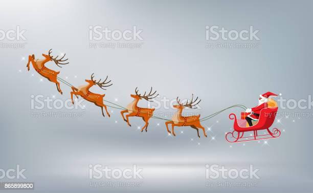 Frohe Weihnachten Weihnachtsmann Fährt Schlitten Rentier Isoliert Vektorillustration Stock Vektor Art und mehr Bilder von Christbaumkugel