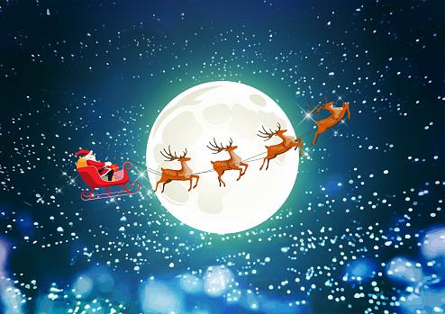 Merry Christmas, Santa Claus drives sleigh reindeer on starry sky