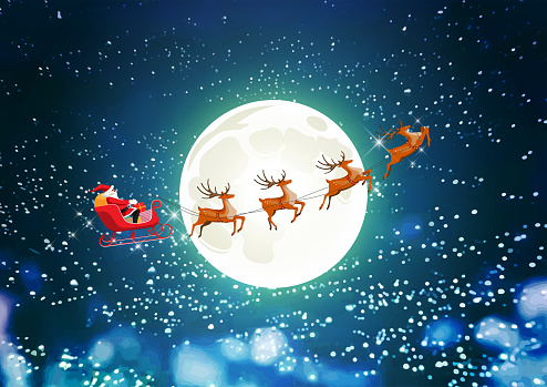 Merry Christmas Santa Claus Drives Sleigh Reindeer On ...