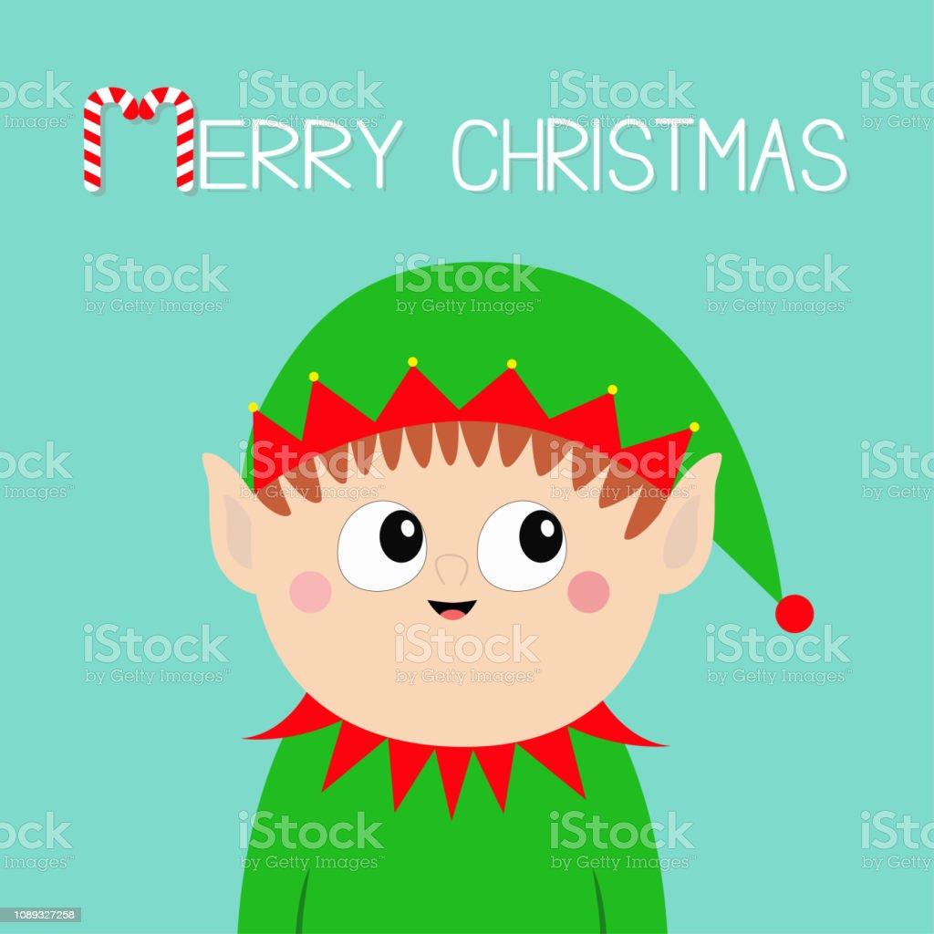 258dba3aedc Merry Christmas Santa Claus Elf Head Face Icon Green Hat New Year ...