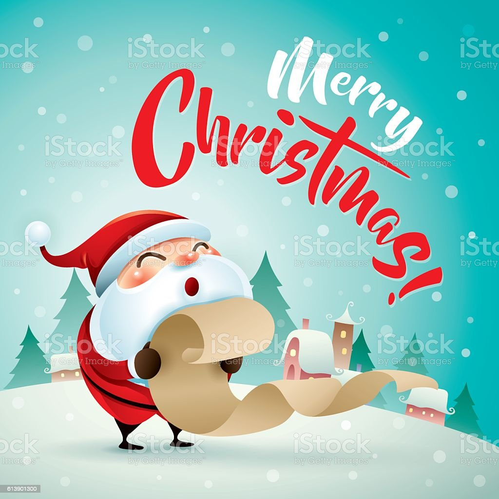 Merry Christmas Santa Claus In Christmas Snow Scene Christmas ...