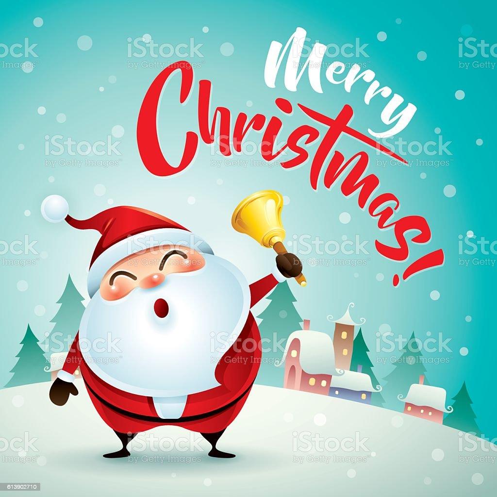 Merry christmas santa claus in christmas snow scene christmas santa claus in christmas snow scene christmas greeting card royalty m4hsunfo