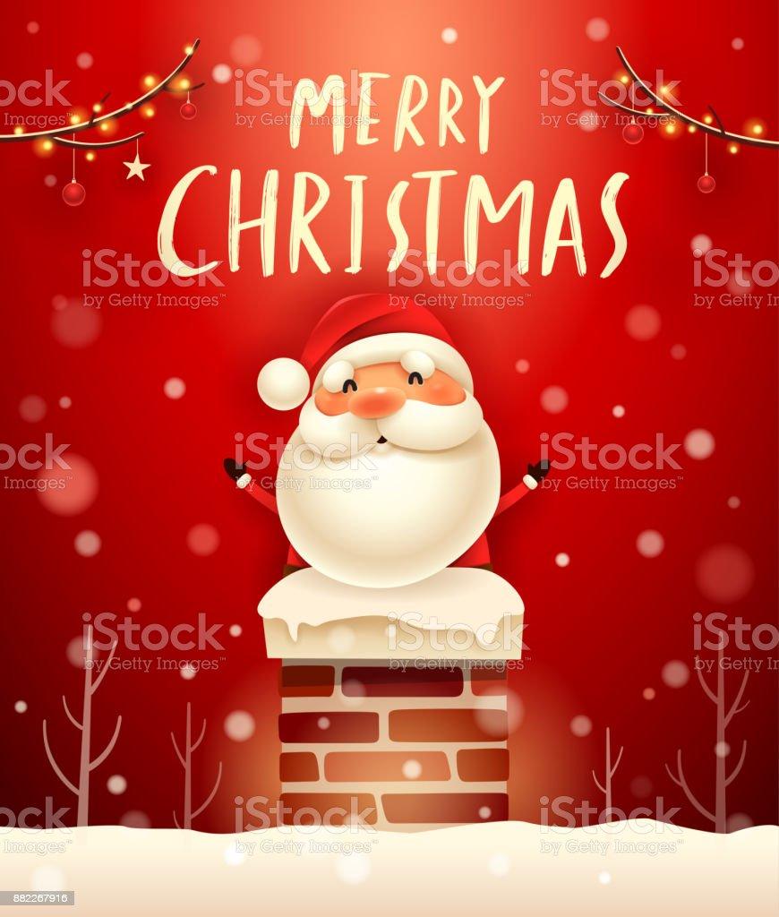 Frohe Weihnachten Weihnachtsmann Im Schornstein Schneeszene ...