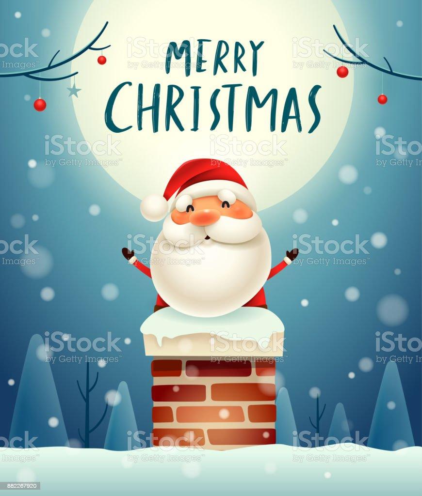 Frohe Weihnachten Weihnachtsmann Im Schornstein Im Mondschein ...