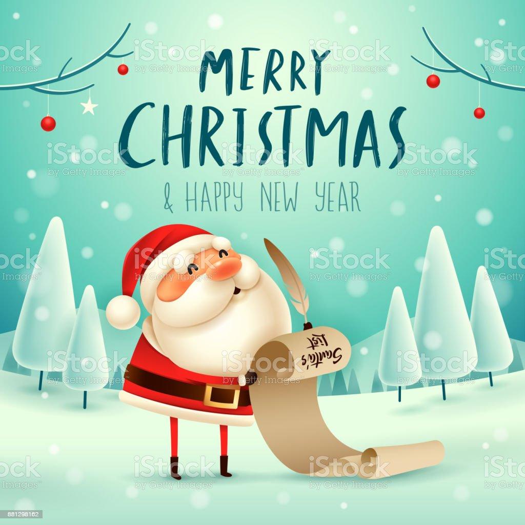 Frohe Weihnachten Santa Claus Hält Eine Lange Überprüfung Liste An ...