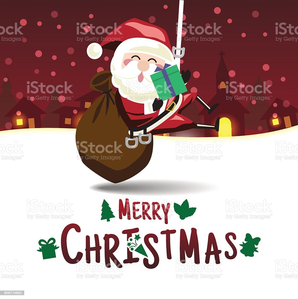 Merry Christmas Santa Claus Is Hung To Delivering Christmas Gif ...