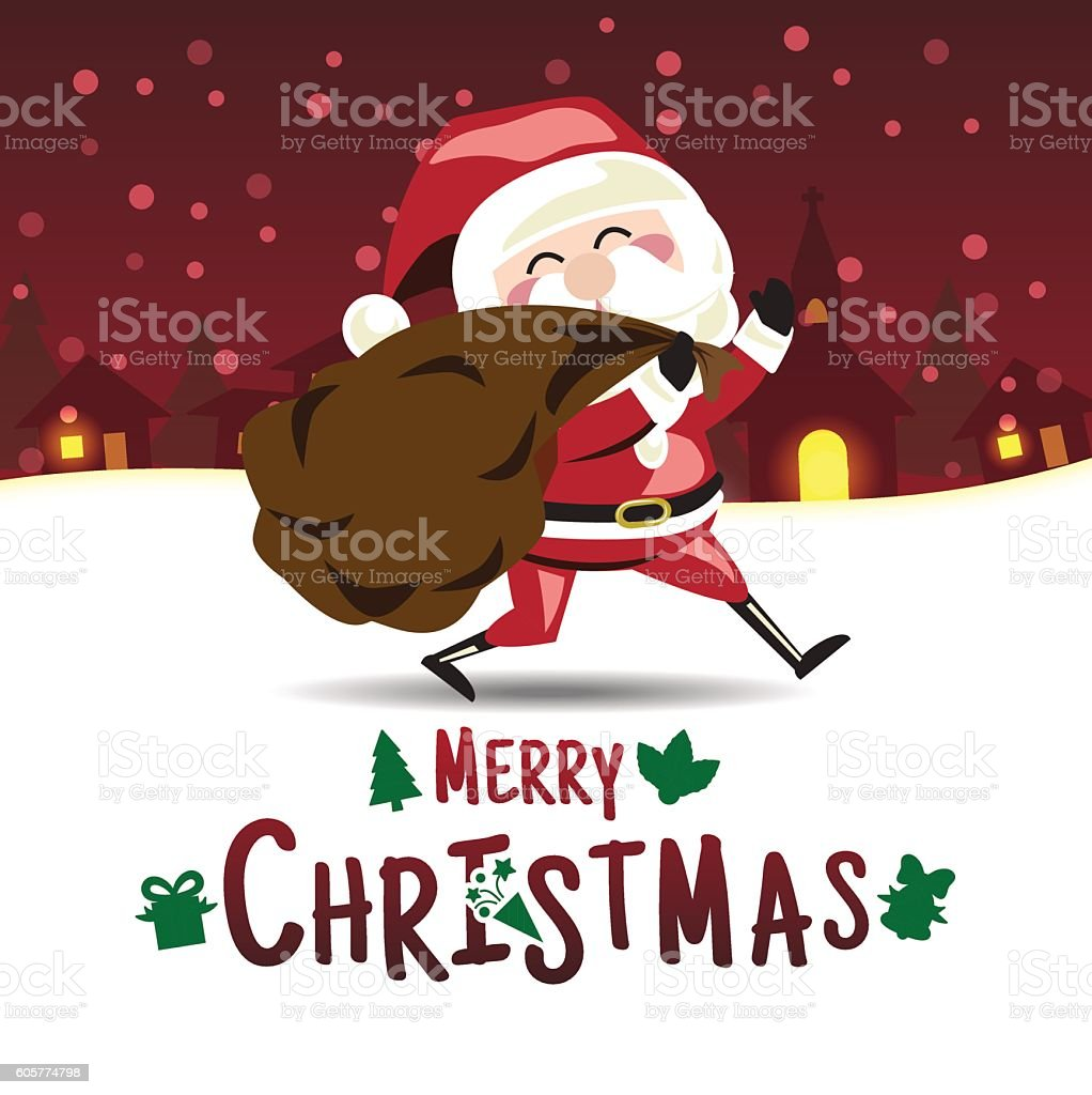 Merry Christmas Santa Claus Is Send Christmas Gift A Holiday stock ...