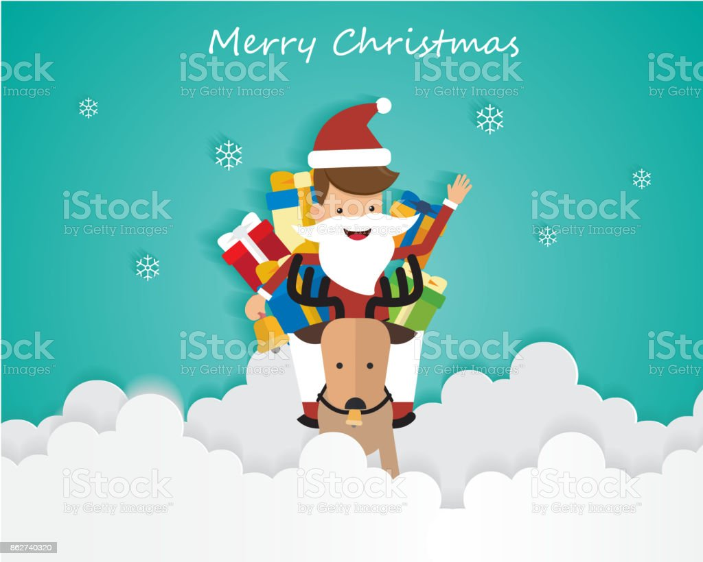Merry Christmas Santa Claus On Sky with Gift Box and Reindeer, Greeting Card Background Illustration Paper Art vector art illustration