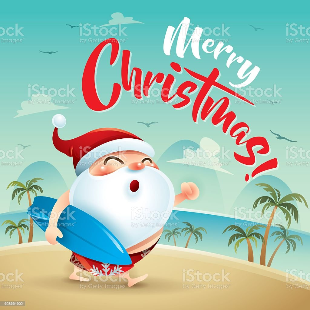 Merry christmas santa claus on the beach holiday stock vector art santa claus on the beach holiday royalty free merry christmas santa kristyandbryce Choice Image