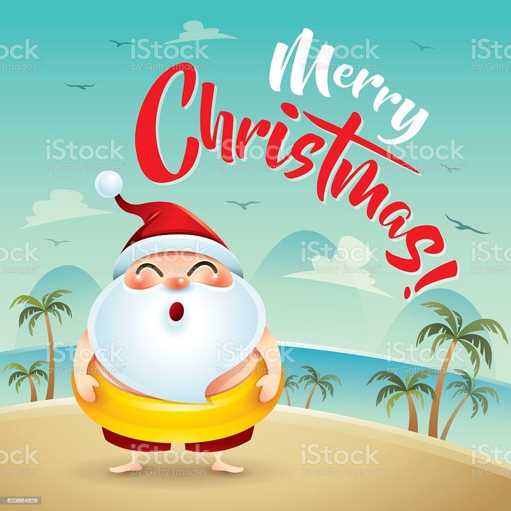 merry christmas santa claus on the beach holiday royalty free merry christmas santa - Merry Christmas Beach