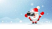Merry christmas Santa Claus Photographer on snow and iceberg blue background. Eps 10 vector illustration