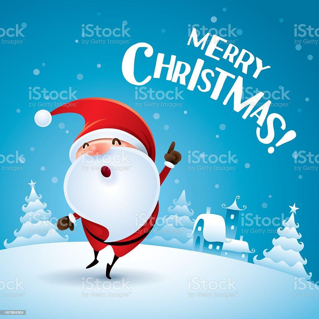 Merry Christmas! Santa Claus point finger up. vector art illustration