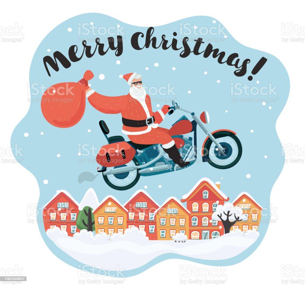 Frohe Weihnachten Motorrad.Frohe Weihnachten Santa Claus Die Motorrad Fahren Stock