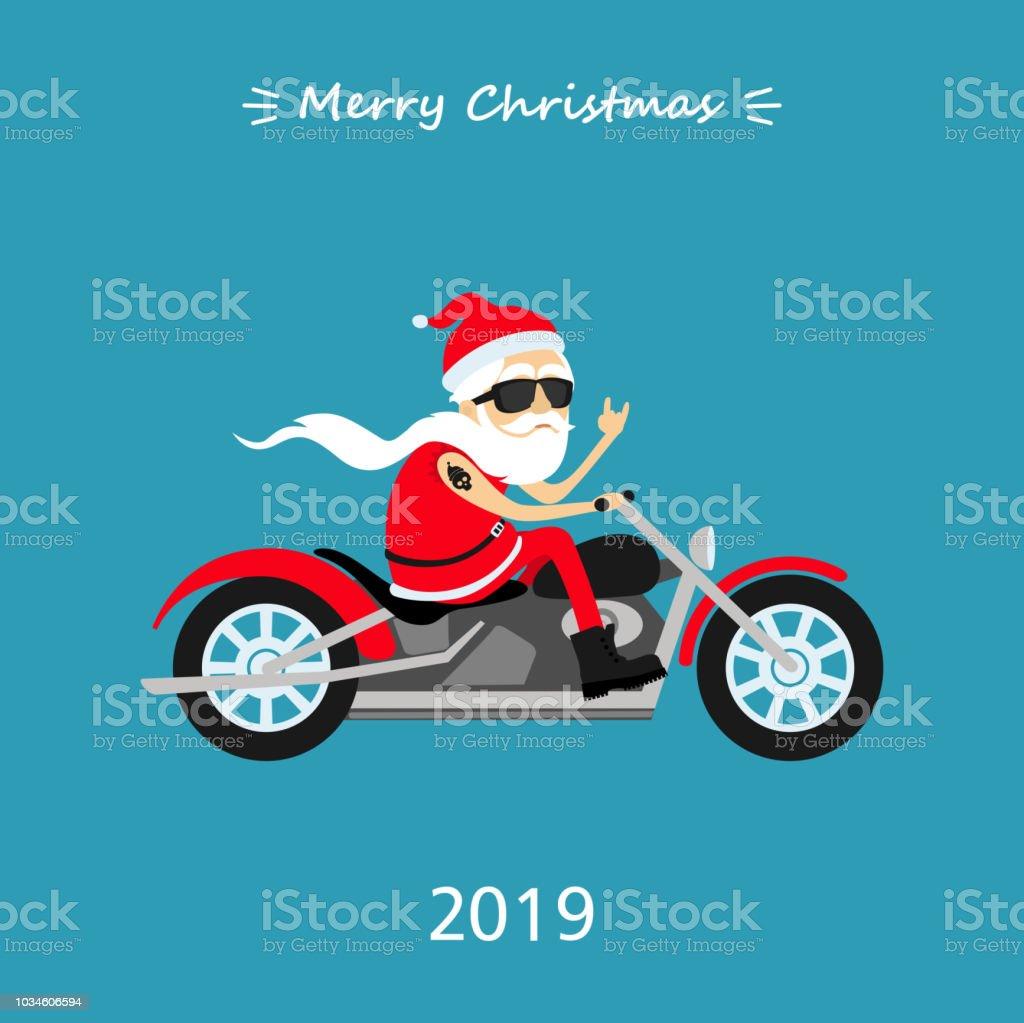 Frohe Weihnachten Motorrad.Frohe Weihnachten Weihnachtsmann Fahrt Das Motorrad Gruss