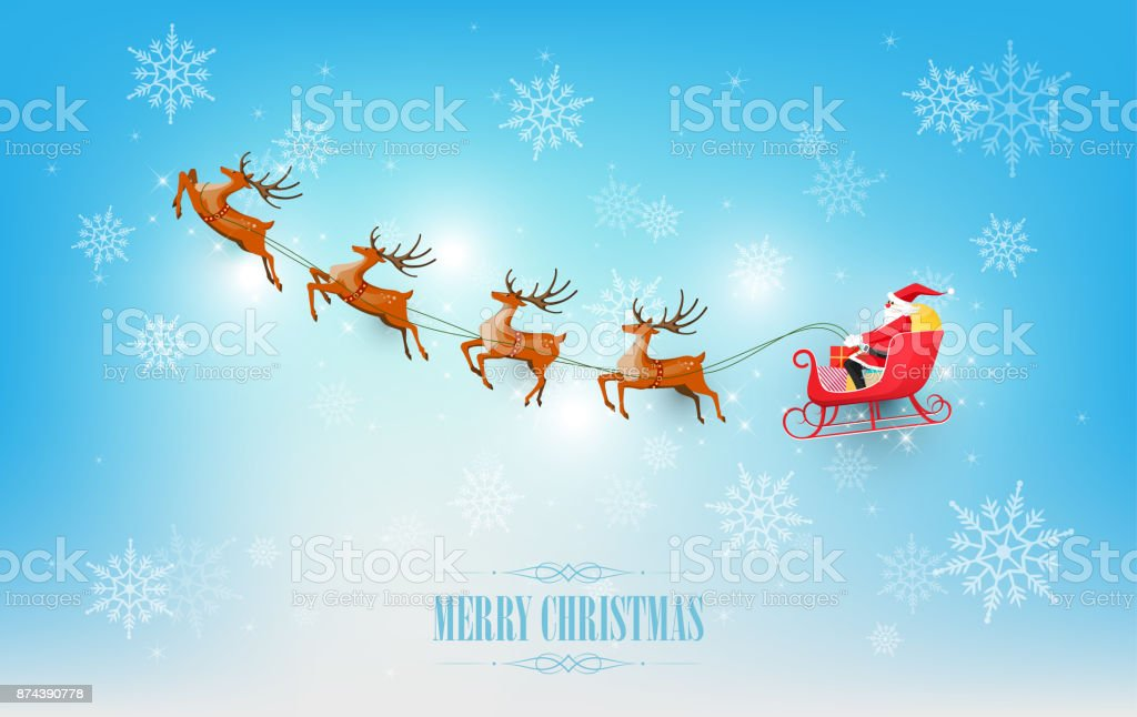 ce0f01d812758 Merry Christmas Santa Claus Sleigh Reindeer On Snowflake Vector ...
