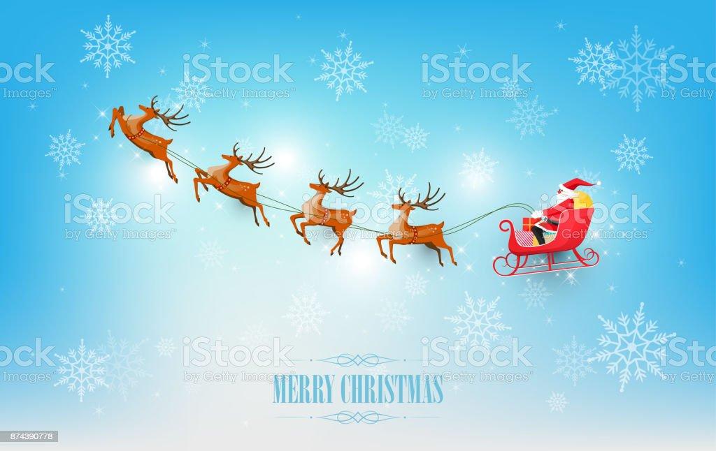 Merry Christmas, Santa Claus sleigh reindeer on snowflake, vector illustration vector art illustration