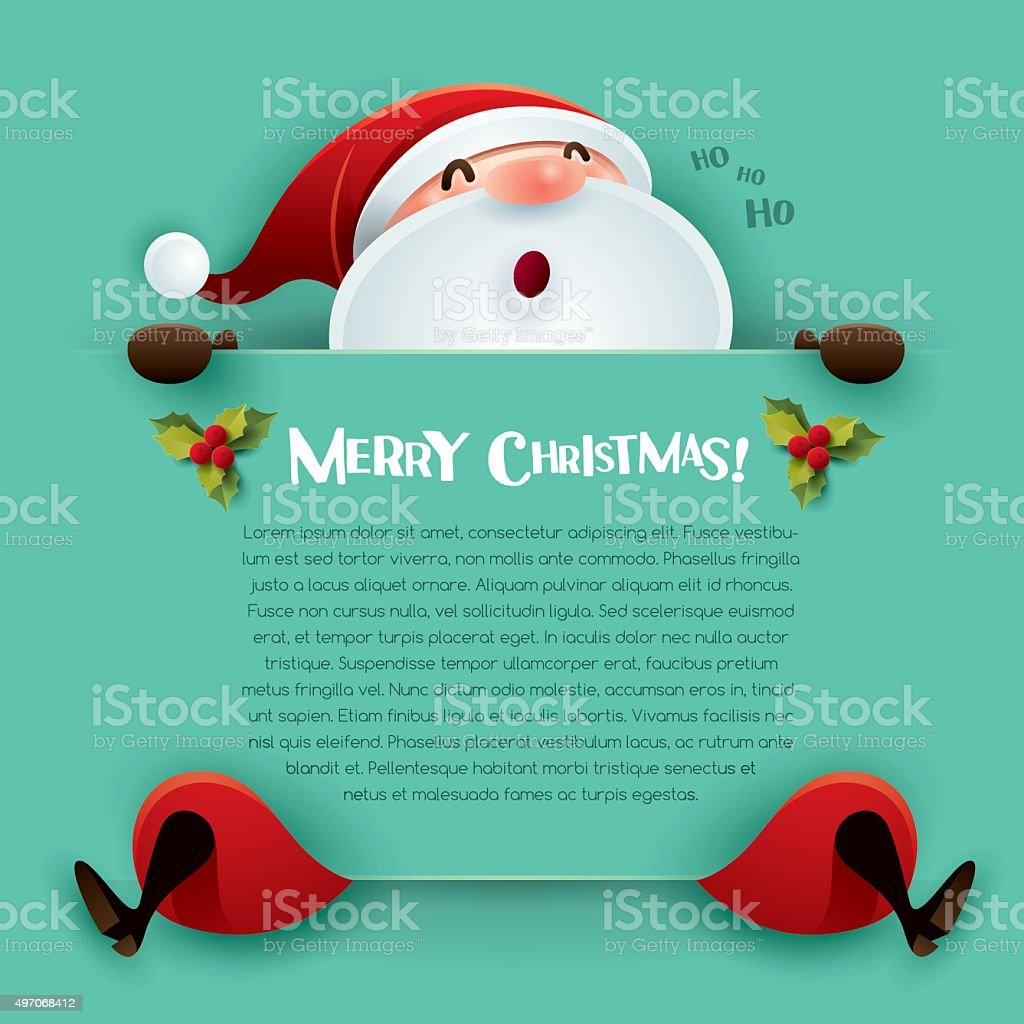 Merry Christmas! Santa Claus with big sign vector art illustration