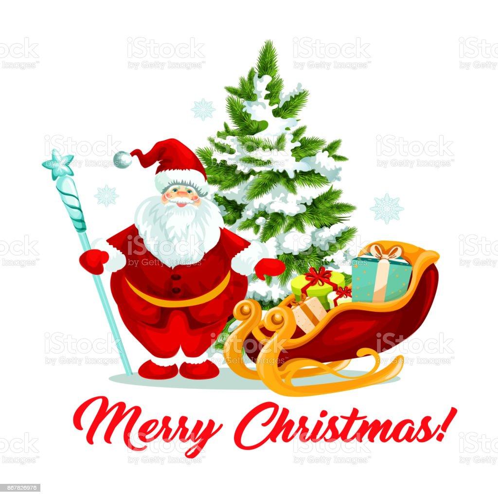 Frohe Weihnachten Santa Geschenke Schlittenfahrten Baum Vektor Icon ...
