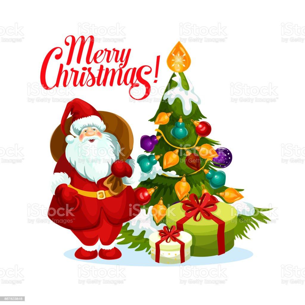 Frohe Weihnachten Santa Geschenke Baum Vektor Icon Stock Vektor Art ...
