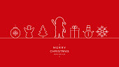 merry christmas santa wave line icon card red background