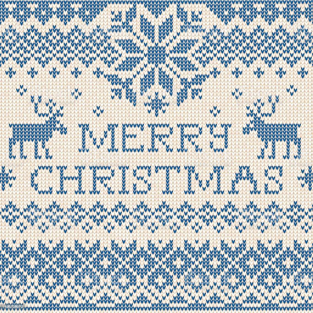 Feliz Navidad: Tejido de estilo escandinavo o ruso embroider - ilustración de arte vectorial