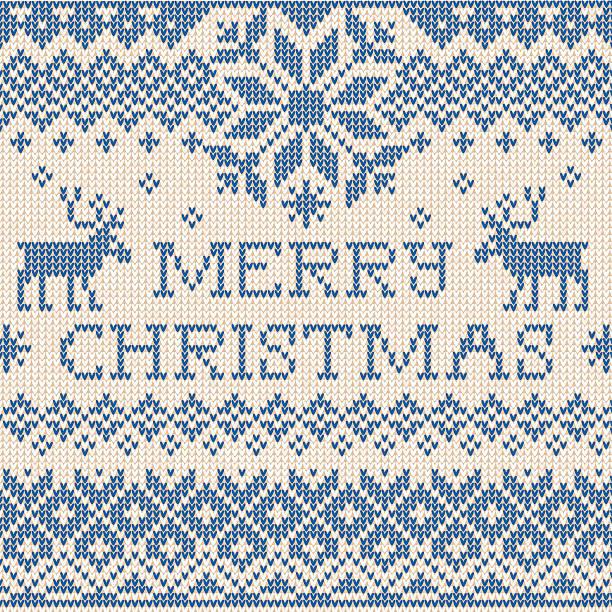 bildbanksillustrationer, clip art samt tecknat material och ikoner med merry christmas: scandinavian or russian style knitted embroider - älg sverige