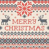 Merry Christmas: Scandinavian or russian style knitted embroider