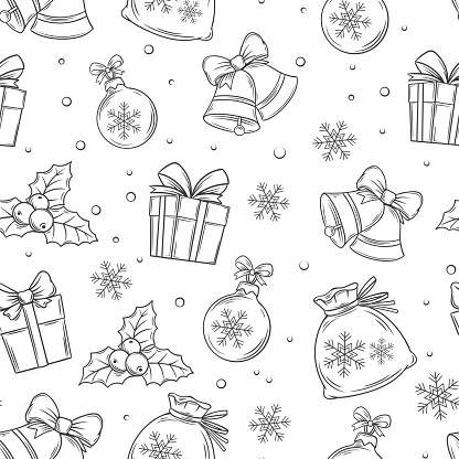 Merry Christmas seamless pattern for wrapping, vector black and white hand-drawn monochrome illustration