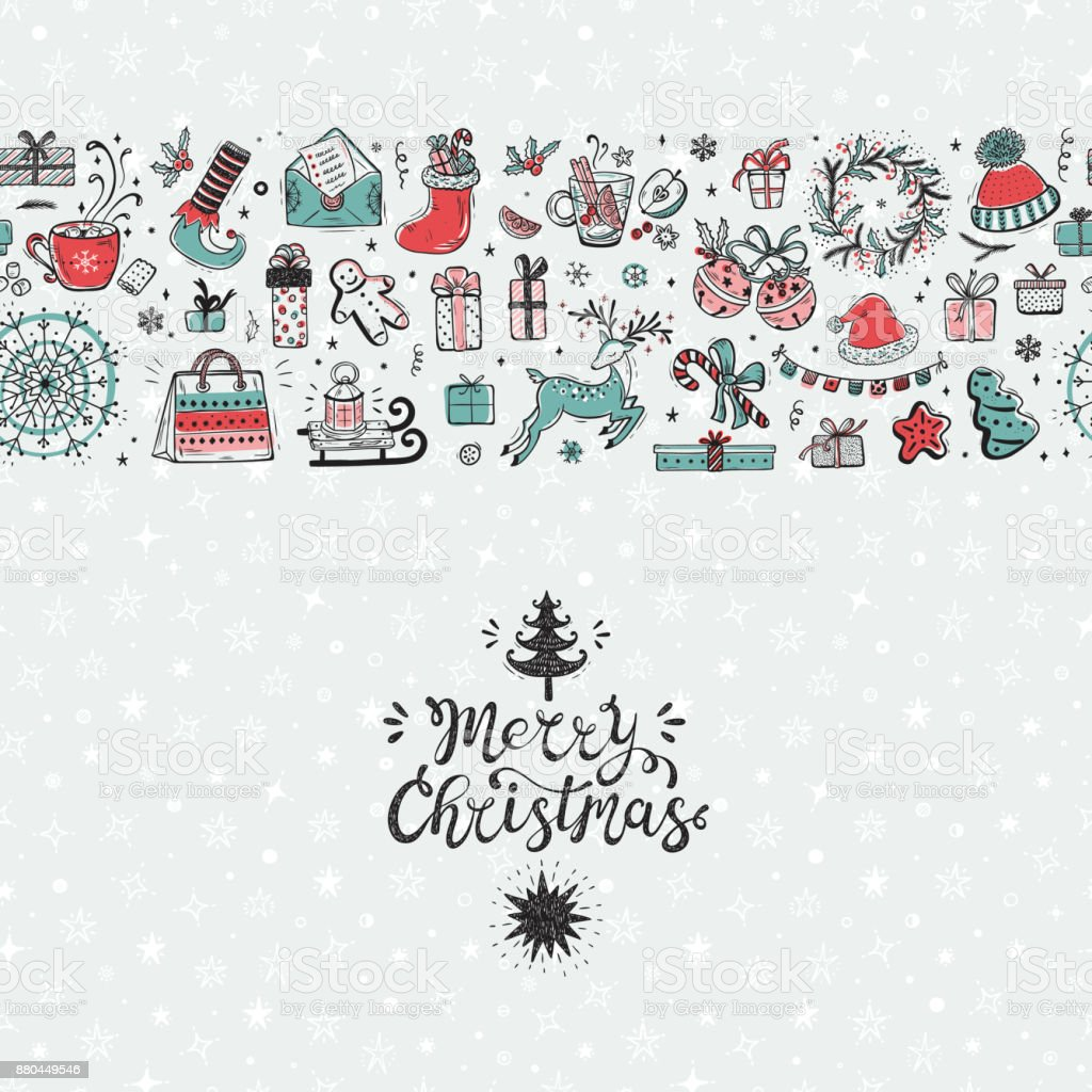 merry christmas seamless pattern horizontal border xmas greeting card template happy winter holidays poster