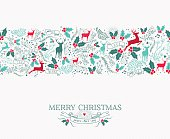 Merry christmas seamless pattern background with nature reindeer and holly shapes. Ideal for holiday greeting card or xmas invitation.