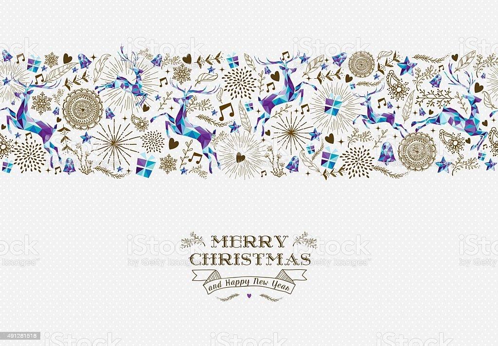 Ilustración de Feliz Navidad Vintage Patrón Sin Costuras De Reno y ...