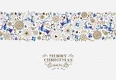 Merry christmas seamless pattern reindeer vintage