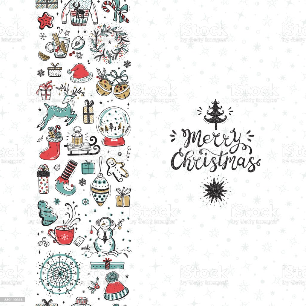 merry christmas seamless pattern vertical border xmas greeting card template happy winter holidays poster