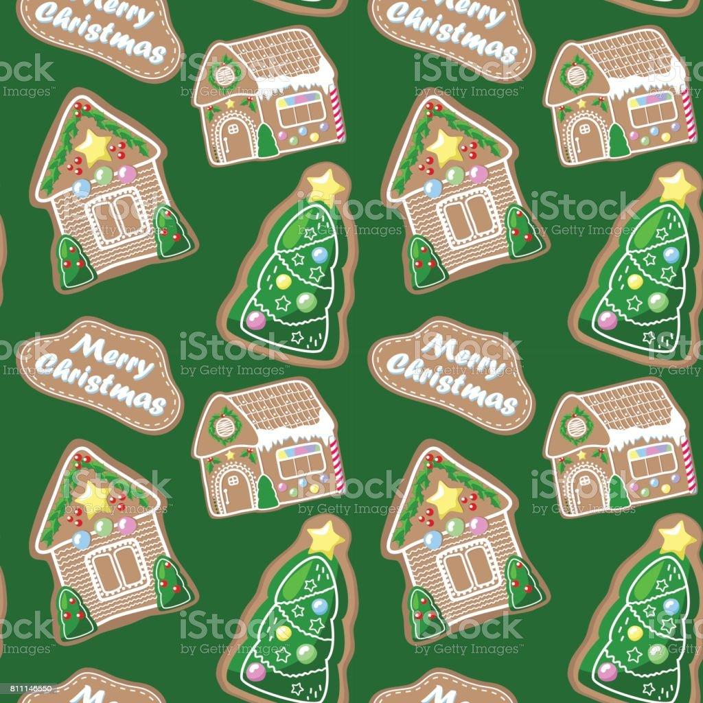 Frohe Weihnachten Musterdesign Mit Lebkuchenhauser Und Tanne