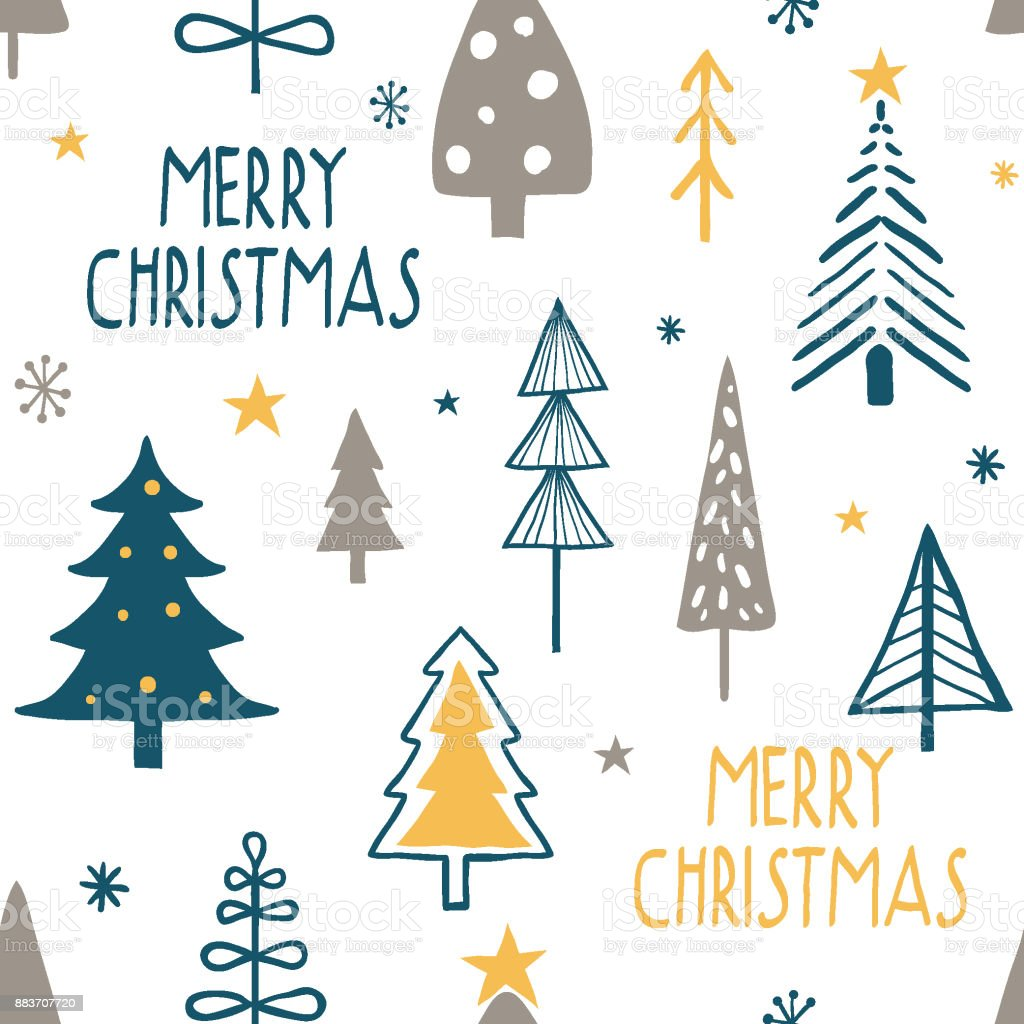 Merry Christmas Seamless Pattern With Simple Minimalist Trees Stock Illustration Download Image Now Istock