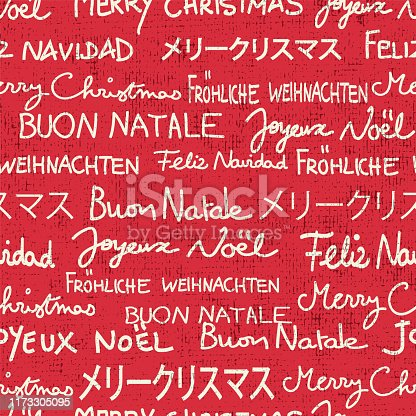 istock Merry Christmas seamless vector pattern in different languages. Text only Christmas greetings background in red and white with grunge texture. 1173305095