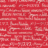 Merry Christmas seamless pattern in different languages. Text only Christmas greetings background in red and white with grunge texture. Vector EPS10